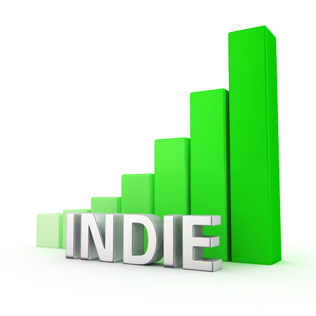indie: Increasing the number of independent artists. Rising indie movement. The word Indie against growing up green chart. 3D illustration image about non-commercial art