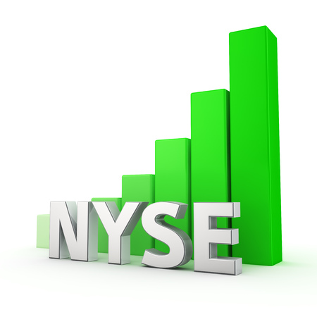 nyse: NYSE index is growing. The growth of stock quotes, a bullish trend in the market. Acronym NYSE against the green rising graph. 3D illustration image Stock Photo