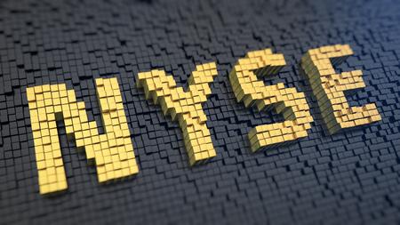 bolsa de valores: NYSE imagen de la característica. Citas, eventos en la Bolsa de Nueva York. Palabra NYSE de los píxeles cuadrados de color amarillo sobre un fondo negro de la matriz. 3D ilustración jpg