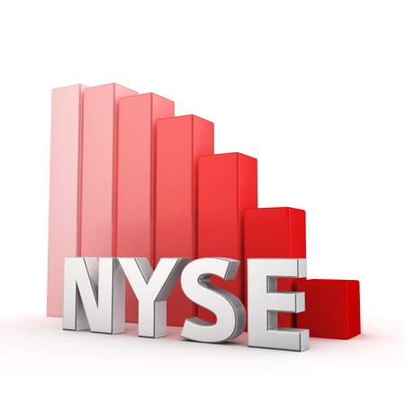 nyse: NYSE index is falling. The fall of stock quotes, a bearish trend in the market. Acronym NYSE against the red falling graph. 3D illustration picture