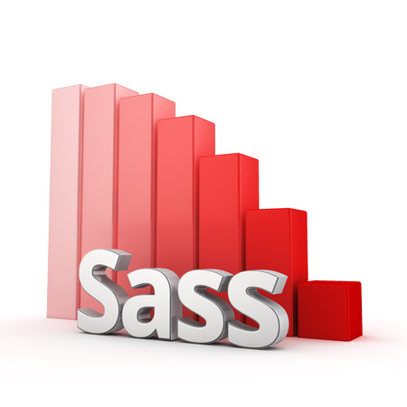 syntax: Syntactically Awesome Stylesheets (Sass) is decreasing. The use of meta-language Sass is gradually reduced. Acronym Sass against the red falling graph. 3D illustration picture
