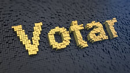 elect: Vote, elect concept. Spanish word Votar (which means Vote) of the yellow square pixels on a black matrix background. Election banner picture. 3D illustration Stock Photo