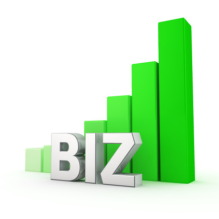 biz: Business on the rise. Word Biz against the green rising graph. 3D illustration image Stock Photo