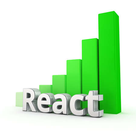 javascript: Modern component development of web applications with the React javascript library. Word React against the green rising graph. 3D illustration jpeg