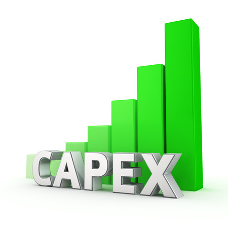 rapidly: The volume of CAPEX is growing rapidly. Word CAPEX against the green rising graph. 3D illustration concept Stock Photo
