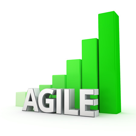 agile: Growth indicators with Agile software development. Word Agile against the green rising graph. 3D illustration concept Stock Photo