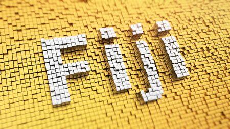 Fiji headline. Pixelated word Fiji made from matrix mosaic cubes. 3D illustration image