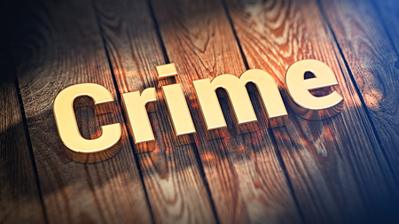 unlawful act: Criminal news header.The word Crime is lined with gold letters on wooden planks. 3D illustration picture