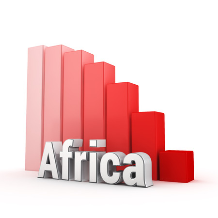regression: The economy of the African continent drop down. Regression of Africa. Word Africa against the red falling graph. 3D illustration picture Stock Photo