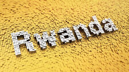 rwanda: Rwanda headline. Pixelated word Rwanda made from matrix mosaic cubes. 3D illustration image Stock Photo