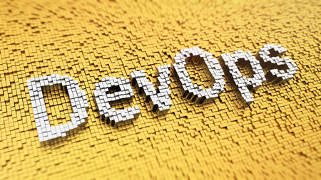 Development operations culture. Pixelated word DevOps made from cubes, mosaic pattern. 3D illustration picture