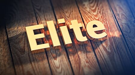 elite: The best people on the planet. The word Elite is lined with gold letters on wooden planks. 3D illustration picture