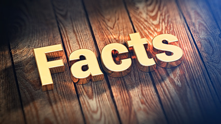 validez: The word Facts is lined with gold letters on wooden planks. 3D illustration graphics