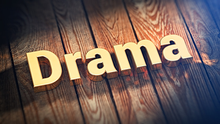theatrics: The word Drama is lined with gold letters on wooden planks. 3D illustration image