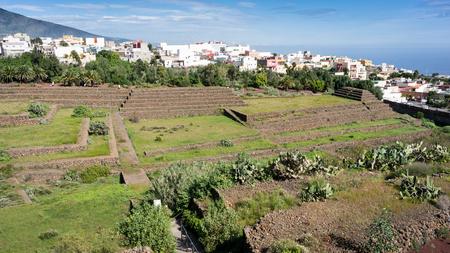civilization: View to Guimar Pyramids. Remnants of a Guanche ancient civilization, Tenerife, Canary Islands