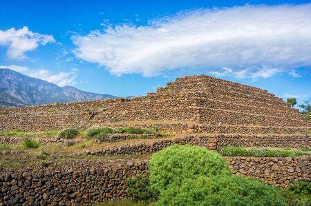 civilization: Guimar Pyramids landscape. Remnants of a Guanche ancient civilization, Tenerife, Canary Islands