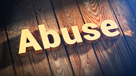 misuse: Bulletproof hosting. The word Abuse is lined with gold letters on wooden planks. 3D illustration jpeg Stock Photo