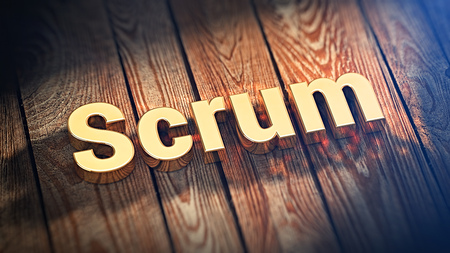 scrum: Scrum agile methodology for fast team work development. The word Scrum is lined with gold letters on wooden planks. 3D illustration image