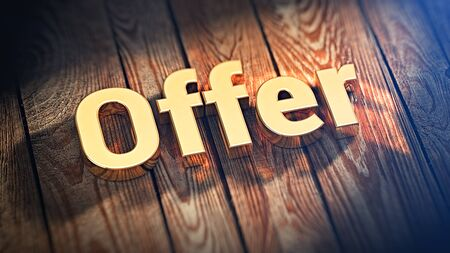 cpa: Best offer in CPA. The word Offer is lined with gold letters on wooden planks. 3D illustration jpeg Stock Photo