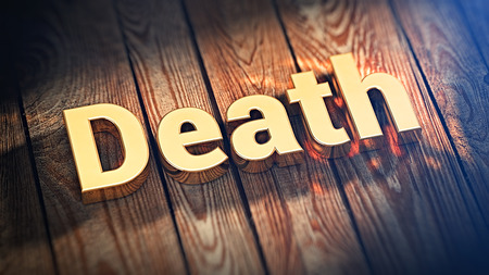 decease: The word Death is lined with gold letters on wooden planks. 3D illustration picture