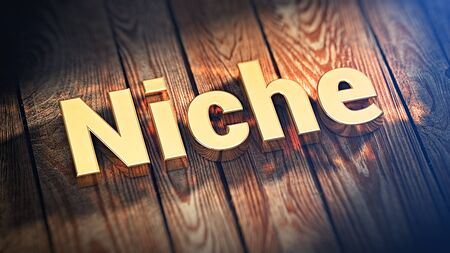 niche: The word Niche is lined with gold letters on wooden planks. 3D illustration image