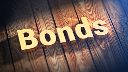 """Liste der Top-Anleihen Papier. Das Wort """"Bonds"""" ist mit goldenen Buchstaben auf Holzbohlen ausgekleidet. 3D-Darstellung Grafiken Standard-Bild - 52989078"""