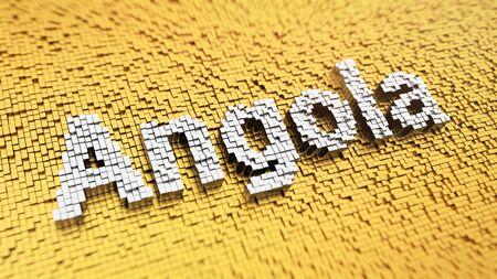 angola: Angola headline. Pixelated word Angola made from matrix mosaic cubes. 3D illustration image