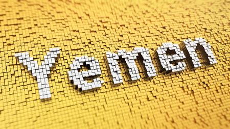 yemen: Yemen headline. Pixelated word Yemen made from matrix mosaic cubes. 3D illustration image Stock Photo