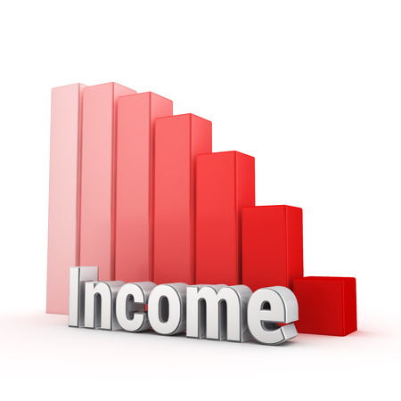 passive earnings: Word Income against the red falling graph. 3D illustration picture Stock Photo