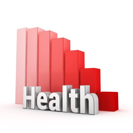 heartiness: The nations health deteriorates. Word Health against the red falling graph. 3D illustration picture