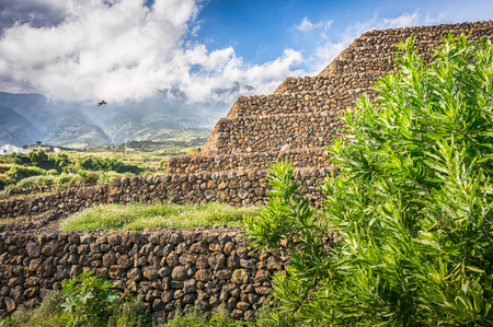 ancient civilization: Landscape with Guimar Pyramid. Remnants of a Guanche ancient civilization, Tenerife, Canary Islands Stock Photo