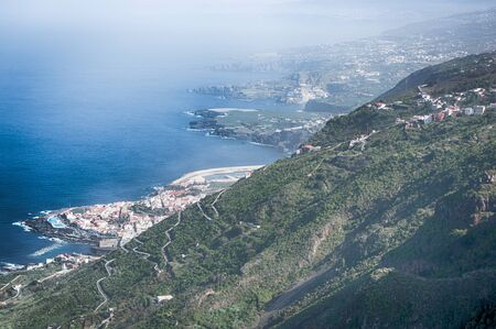 volcano slope: Views of the coastline of north Tenerife from the slope of a volcano, Canary Islands