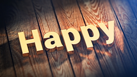 dont worry: Dont worry, be happy. The word Happy is lined with gold letters on wooden planks. 3D illustration picture
