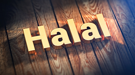 permissible: The word Halal is lined with gold letters on wooden planks. 3D illustration picture Stock Photo