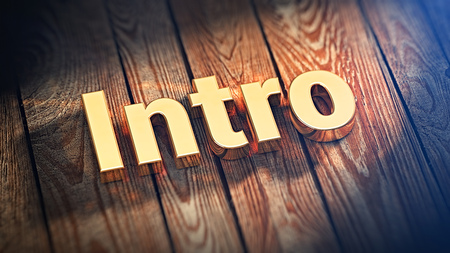 """Action one, intro. The word """"Intro"""" is lined with gold letters on wooden planks. 3D illustration picture Imagens"""