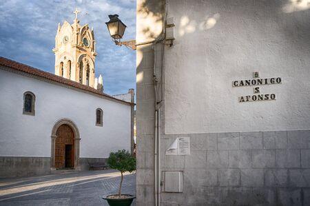 gua: View to campanilla of Iglesia de Guia Casco in Guia de Isora town, Tenerife, Canary Islands