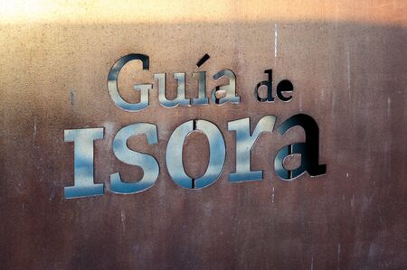 gua: Sign with the name of the city Guia de Isora, Tenerife, Canary Islands Stock Photo