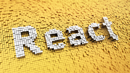 react: Programming web apps. Pixelated word React made from cubes, mosaic pattern. 3D illustration Stock Photo