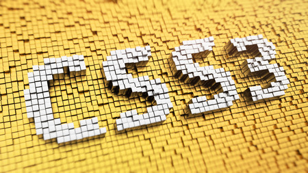 css: Modern version CSS. Pixelated acronym CSS3 made from cubes, mosaic pattern. 3D illustration image