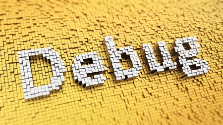 debug: Pixelated word Debug made from cubes, mosaic pattern. 3D illustration graphics