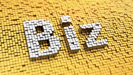 pixelated: Pixelated word Biz made from cubes, mosaic pattern. 3D illustration