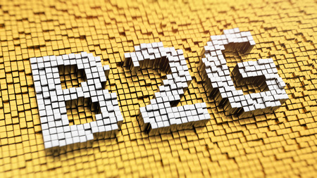 gov: Business to government header. Pixelated acronym B2G made from cubes, mosaic pattern. 3D illustration picture