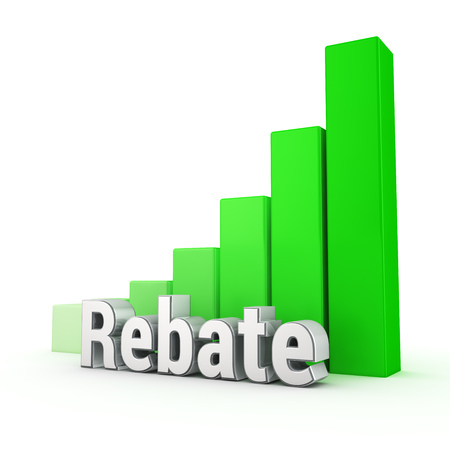 rebate: Business discounts are growing up. Word Rebate against the green rising graph. 3D illustration image