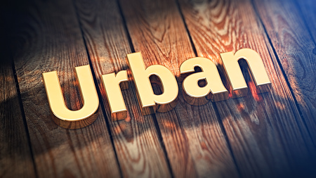 urbanized: Fashion, street art, dance. The word Urban is lined with gold letters on wooden planks. 3D illustration picture Stock Photo