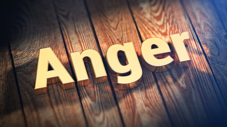 exasperation: The word Anger is lined with gold letters on wooden planks. 3D illustration image