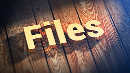 categorize: The word Files is lined with gold letters on wooden planks. 3D illustration jpeg Stock Photo