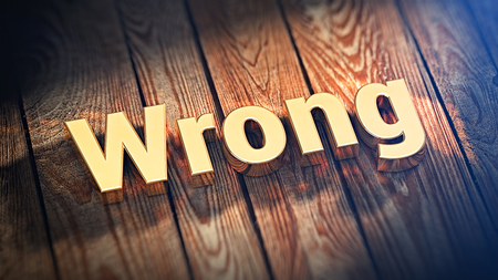 Wrong tjongs list title. The word Wrong is lined with gold letters on wooden planks. 3D illustration image