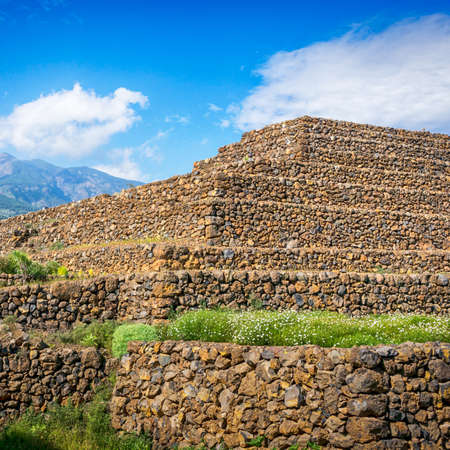 ancient civilization: Fragment of Guimar Pyramid. Remnants of a Guanche ancient civilization, Tenerife, Canary Islands