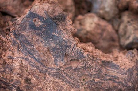 clinker: Beauty of nature. Striped structure of the clinker of volcano El Teide, Tenerife, Canary Islands Stock Photo