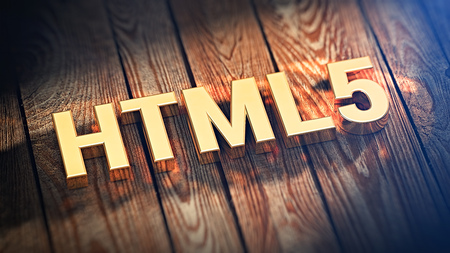 html5: Web language. The acronym HTML5 is lined with gold letters on wooden planks. 3D illustration image Stock Photo